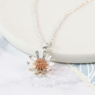 POM Silver Plated & Rose Gold Detail Daisy Necklace
